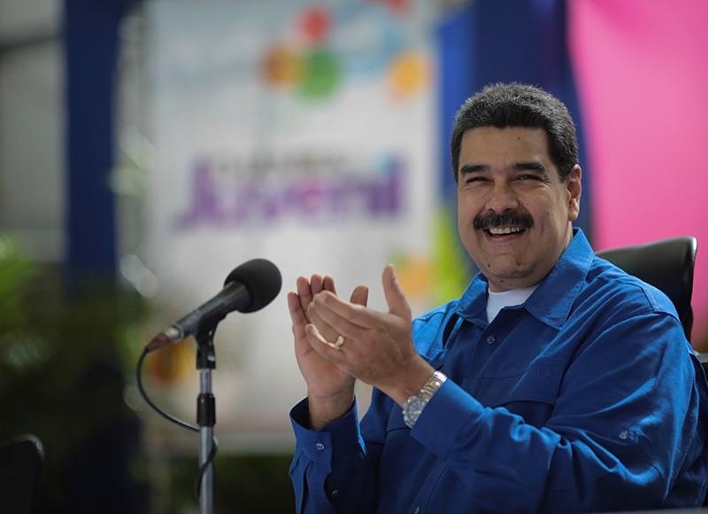 Venezuela's President Nicolas Maduro speaks during an event with supporters in Caracas, Venezuela. (Reuters Photo)