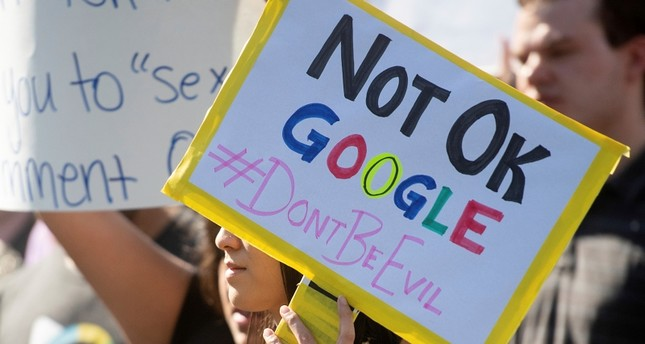 In this Nov. 1, 2018, file photo workers protest against Google's handling of sexual misconduct allegations at the company's Mountain View, Calif., headquarters. (AP Photo)