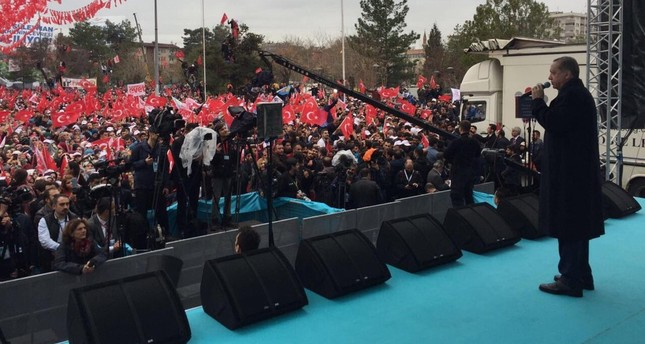 President Recep Tayyip Erdoğan speaking at an inauguration ceremony in the southeastern province of Dikaybakır, March 30.