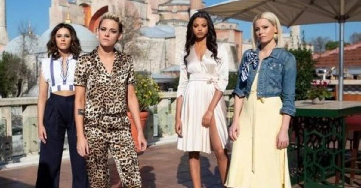 ,Charlie's Angels, features Naomi Scott, Kristen Stewart, Ella Balinska and Elizabeth Banks, respectively.