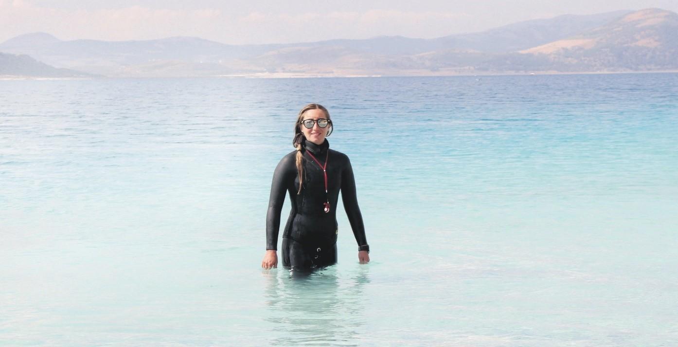 World record holder diver u015eahika Ercu00fcmen has been training in Lake Salda to set a new freshwater freediving world record.