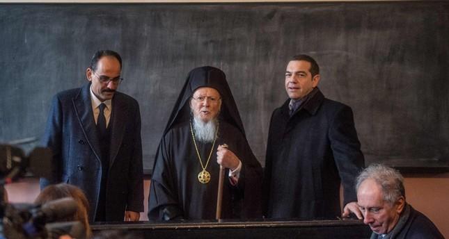 Presidential Spokesperson İbrahim Kalın (L), Greek Prime Minister Alexis Tsipras (R), Greek Orthodox Patriarch Bartholomew I (C) visit the Halki Seminary on Istanbul's Heybeliada Island, Feb. 6, 2019.
