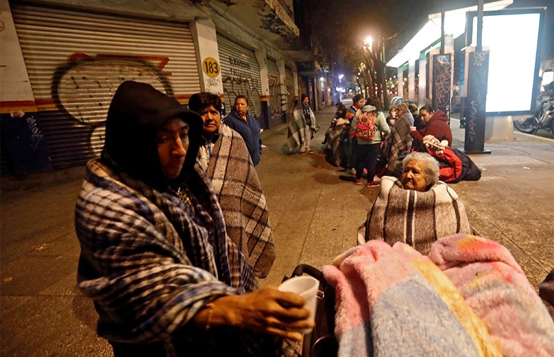 People gather on a street after an earthquake hit Mexico City, Mexico, September 8, 2017 (Reuters Photo)