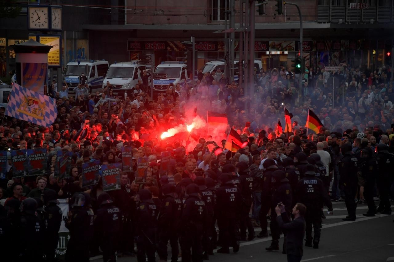 Right-wing supporters protest after a German man was stabbed in Chemnitz, Germany, August 27, 2018. (Reuters Photo)