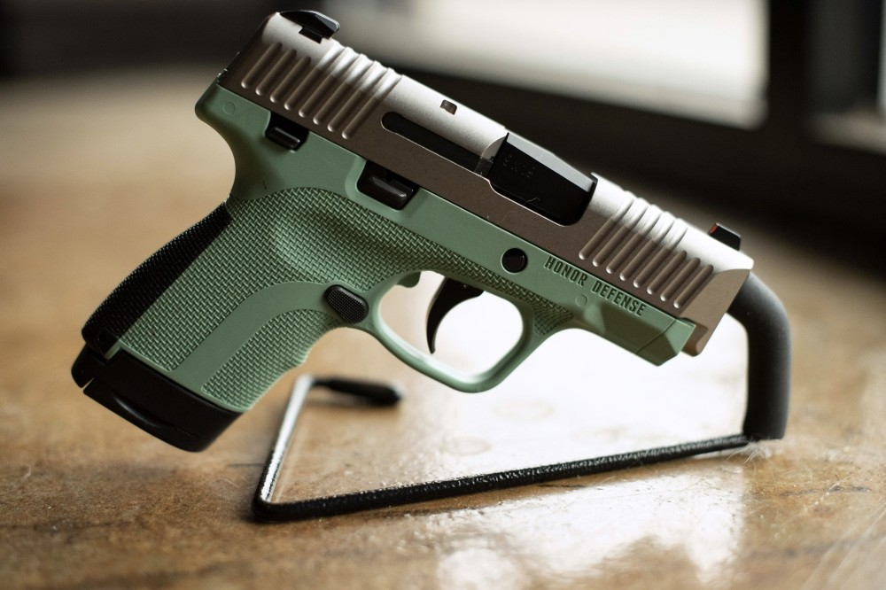 A 9mm handgun produced by Honor Defense, a gunmaker in Gainesville is displayed.