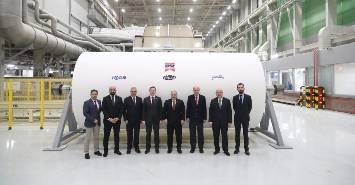 Industry and Technology Minister Mustafa Varank (fourth from right) and his delegation visit Hayat Kimya's new facility in the Alabuga special economic zone of Tatarstan, Dec. 6, 2019. (AA Photo)