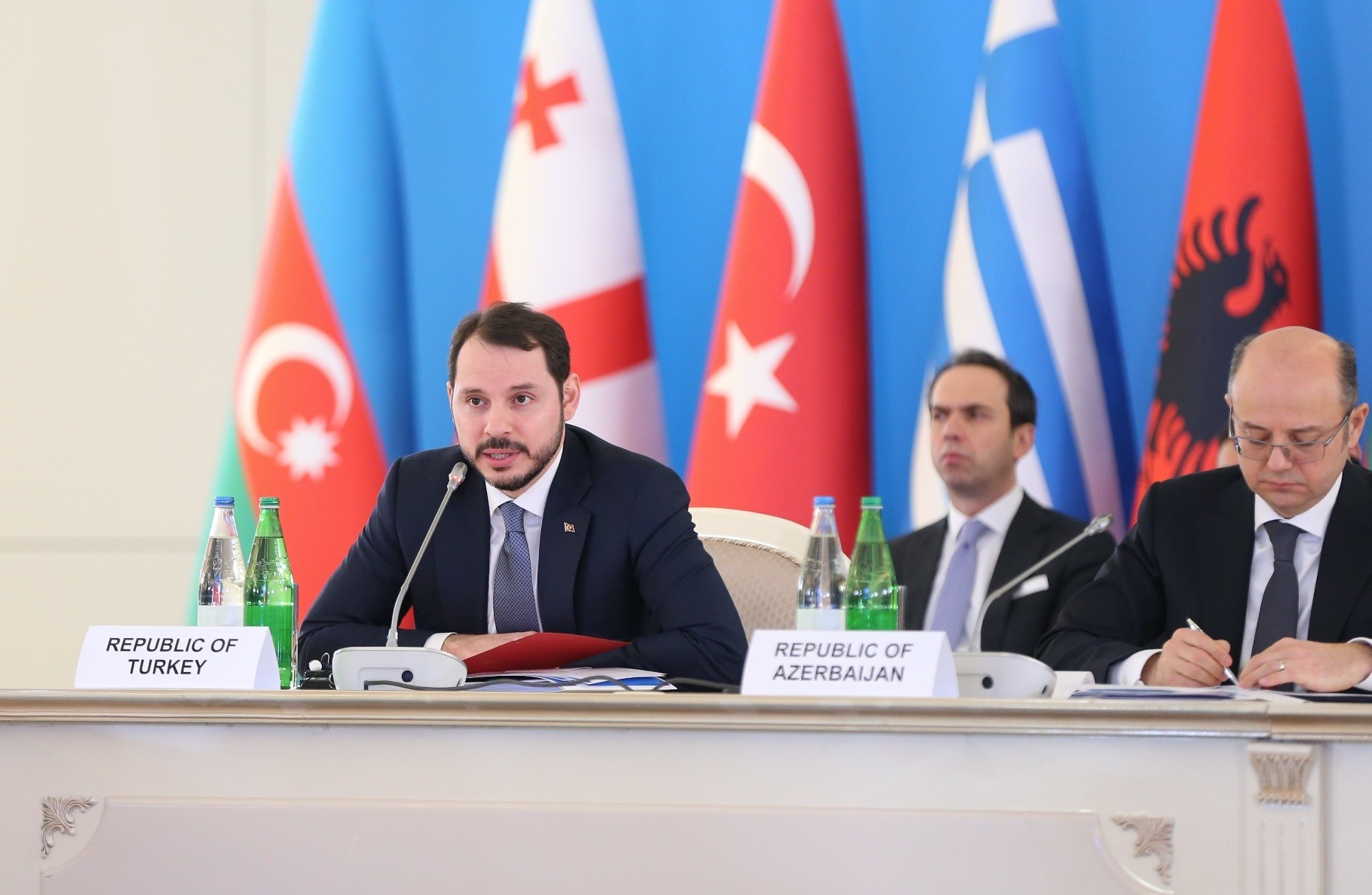 Energy Minister Albayrak delivers a speech at the 4th Ministerial Meeting of the Southern Gas Corridor Advisory Board, Baku, Azerbaijan, Feb. 15, 2018.