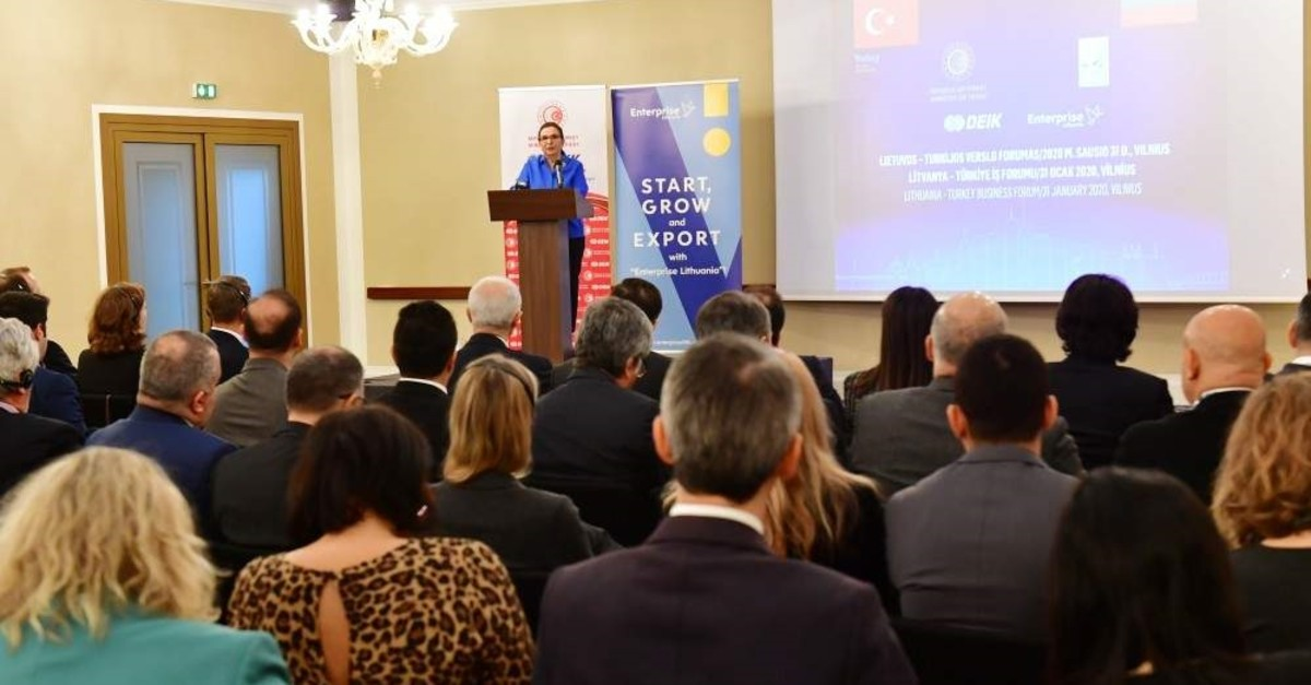 Trade Minister Ruhsar Pekcan speaks during Turkey-Lithuania Business Forum, Vilnius, Jan. 31, 2020. (AA Photo)