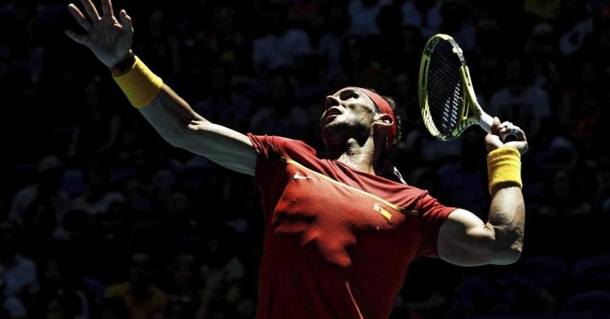 Nadal prepares to return against Nishioka during their ATP Cup tennis match in Perth, Jan. 8, 2020. (AP Photo)