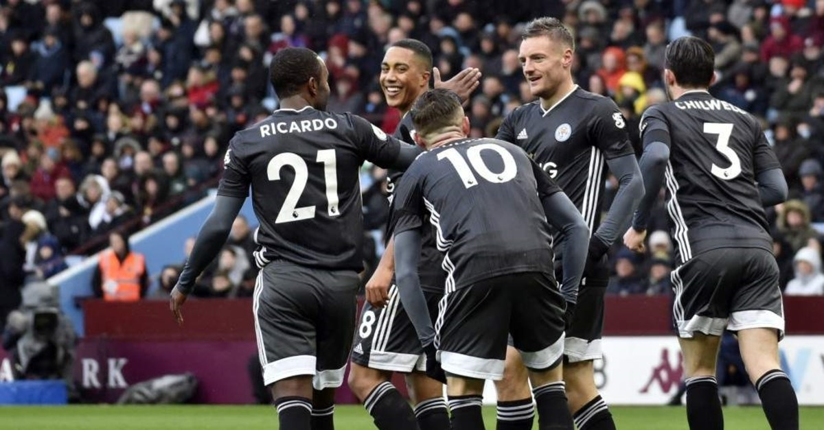 Leicester's Jamie Vardy celebrates with teammates after scoring his side's opening goal during the match against Aston Villa in Birmingham, Dec. 8, 2019. (AP Photo)