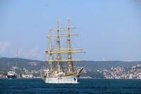Historic military training ship passes through Bosporus