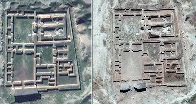 A combo of handout satellite pictures collected on June 3, 2016 by the the UN Institute for Training and Research shows before (L) and after satellite imagery of the Nabu Temple in the ancient Assyrian city of Nimrud in n. Iraq (AFP Photo)