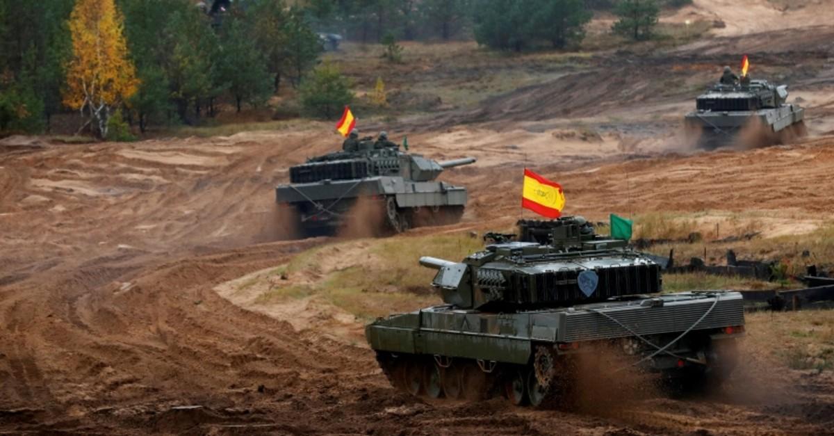 Spanish Leopardo 2 tanks of the NATO enhanced Forward Presence battlegroup attend Iron Tomahawk exercise in Adazi, Latvia, Oct. 23, 2018. (Reuters Photo)