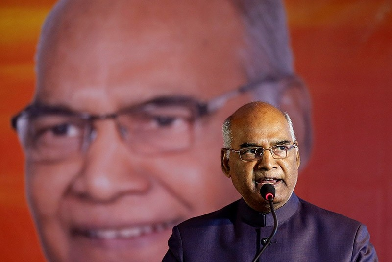 Ram Nath Kovind, nominated presidential candidate of Indiau2019s ruling Bharatiya Janata Party (BJP), delivers a speech during a welcoming ceremony as part of his nation-wide tour, in Ahmedabad, India, July 15, 2017. (Reuters Photo)