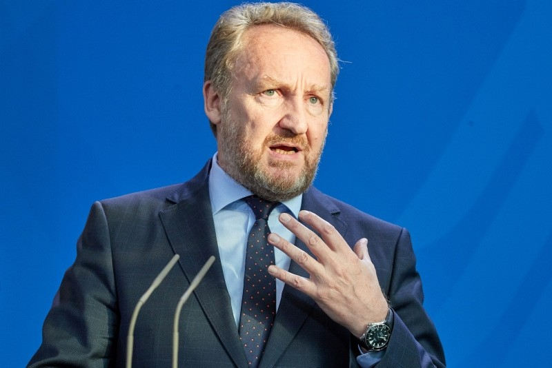 A member of Bosnia's tripartite Presidency Bakir Izetbegovic speaks during a joint statement as part of a meeting at the chancellery in Berlin, Germany, 09 May 2018. (EPA Photo)