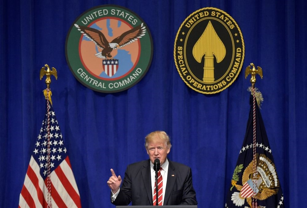 U.S. President Donald Trump speaks following a visit to the U.S. Central Command and Special Operations Command at MacDill Air Force Base on Feb. 6 in Tampa, Florida.