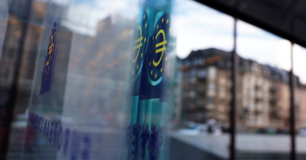 Reflection of the sign of the European central Bank (ECB) is seen ahead of the news conference on the outcome of the Governing Council meeting, at the ECB headquarters in Frankfurt, Germany, March 7, 2019. (Reuters Photo)
