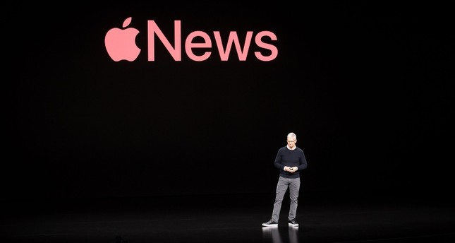 Apple CEO Tim Cook discusses Apple News during a launch event at Apple headquarters on Monday, March 25, 2019, in Cupertino, California. (AFP Photo)