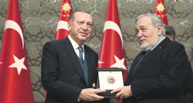 Professor İlber Ortaylı (R) with President Recep Tayyip Erdoğan