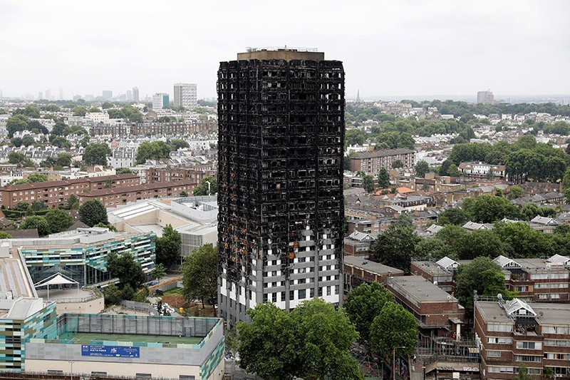 A general view shows the Grenfell Tower, which was destroyed in a fatal fire, in London, Britain July 15, 2017. (Reuters Photo)