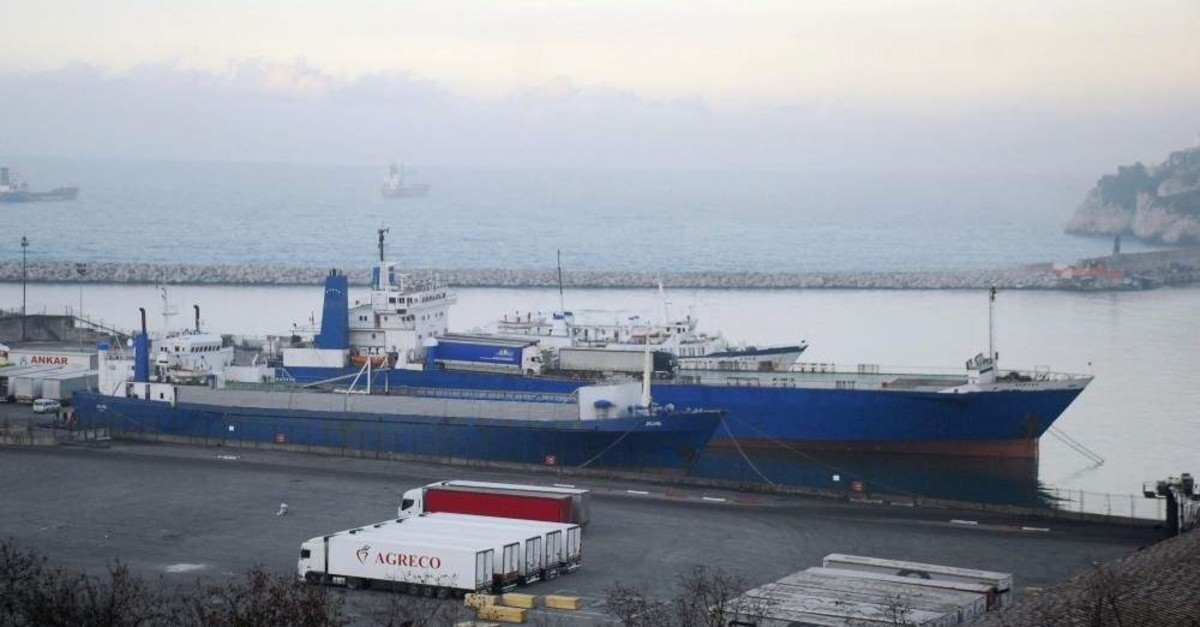 This undated photo shows a ship docked at a port in Zonguldak. (IHA Photo)