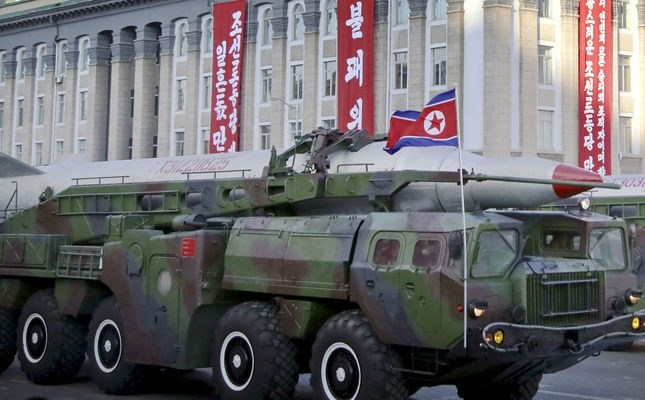 In this Saturday, Oct. 10, 2015, photo, what is believed to be an improved version of the KN-08 ballistic missile is paraded in Pyongyang, North Korea, during the 70th anniversary celebrations of its ruling party's creation. (AP Photo)