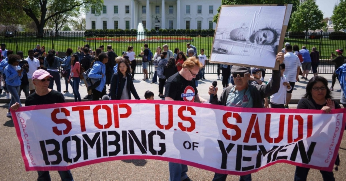 In this file photo taken on April 13, 2017, activists take part in a rally in front of the White House in Washington, DC, to protest against Saudi Arabia's actions in Yemen. (AFP Photo)