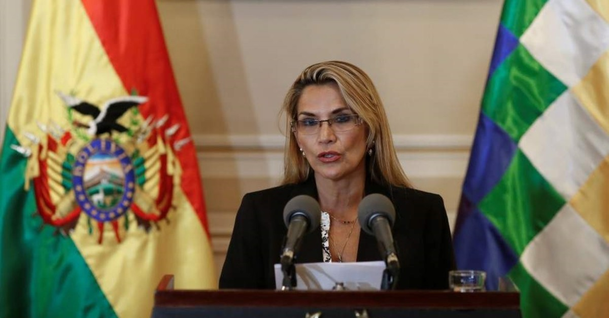Bolivian self-proclaimed Interim President Jeanine Anez reads a statement at the Presidential Palace in La Paz, Bolivia Nov. 13, 2019. (REUTERS)