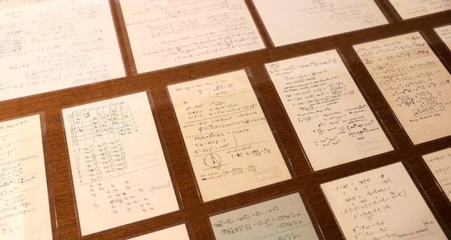 Part of a collection of 110 manuscript pages written by Albert Einstein that were unveiled by Israel's Hebrew University are seen on display at the university in Jerusalem March 6, 2019. (Reuters Photo)