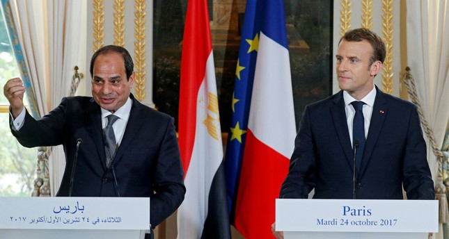 Egyptian President Abdel Fattah el-Sissi (L) and French President Emmanuel Macron at a news conference at the Elysée Palace, Paris, Oct. 24.