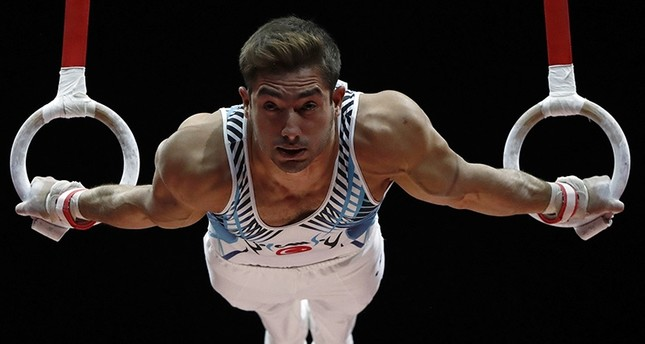 Turkish national athlete Ibrahim Çolak competes at the European Artistic Gymnastics Championships in Glasgow, Scotland, U.K. on Aug. 12, 2018. (Reuters Photo)