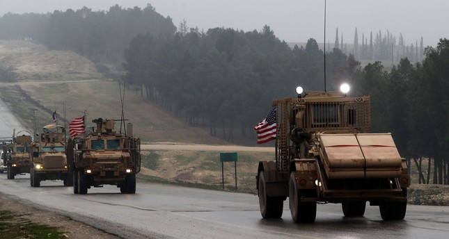 A line of U.S. military vehicles in Syria's northern city of Manbij, Dec. 30, 2018.