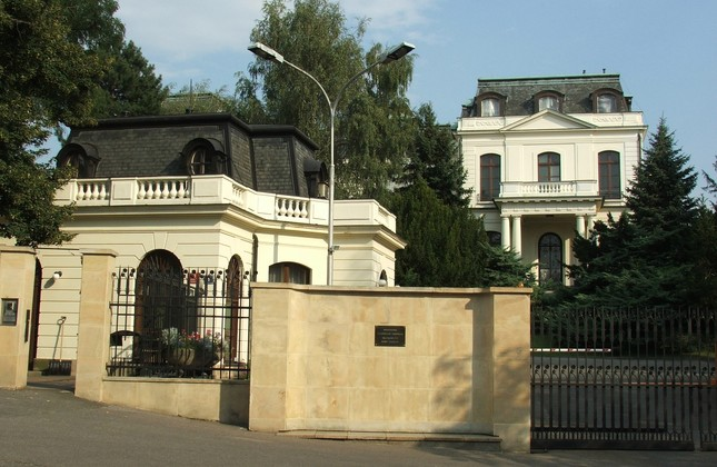 This undated file photo shows Russian Embassy building in Prague.