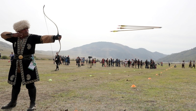 People take part in an archery event during the 3rd World Nomad Games at Issyk-Kul lake in gorge 'Kyrchyn', 300km from Bishkek, Kyrgyzstan, September 6, 2018. (EPA Photo)