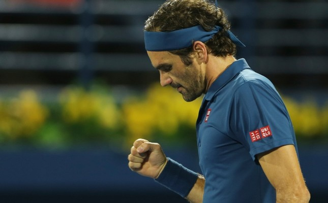 Roger Federer of Switzerland celebrates after he defeated Marton Fucsovics of Hungry during their match at the Dubai Duty Free Tennis Championship, in Dubai, United Arab Emirates, Thursday, Feb. 28, 2019. (AP Photo)