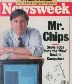 A Newsweek magazine signed by Steve Jobs recently sold for more than $50,000 at an auction