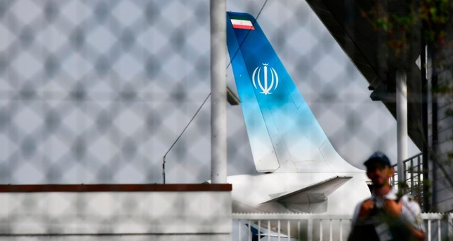 The airplane which carried Iran's Foreign Minister Mohammad Javad Zarif stands on the tarmac at the airport of the French seaside resort of Biarritz, southwest France, on August 25, 2019, on the second day of the G-7 annual summit. (AFP Photo)