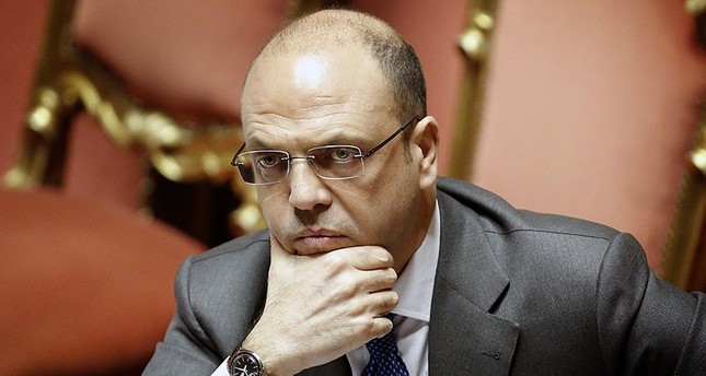 Italian Interior Minister Angelino Alfano speaks during a session in the senate in Rome, Italy. (EPA Photo)