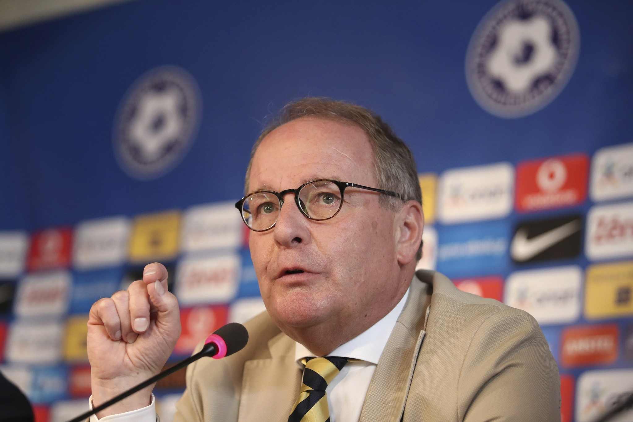 Austrian Herbert Huebel, chairman of the FIFA monitoring committee for the Hellenic Football Federation answers a question during a press conference in Athens, Wednesday, March 14, 2018 (AP Photo)
