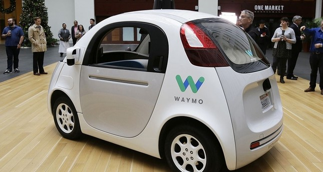 The Waymo driverless car is displayed during a Google event Tuesday in San Francisco.