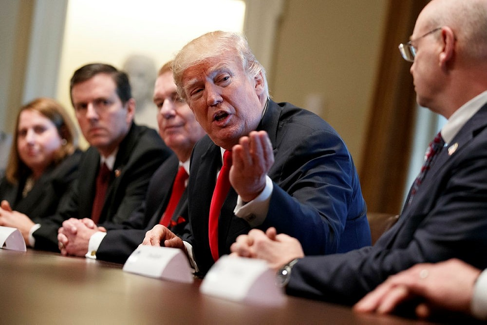 President Donald Trump speaks during a meeting with steel and aluminum executives in the Cabinet Room of the White House, Thursday, March 1, 2018, in Washington. (AP Photo)
