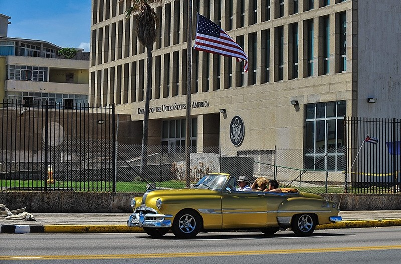 This file photo taken on October 3, 2017 shows the US embassy in Havana. (AFP Photo)