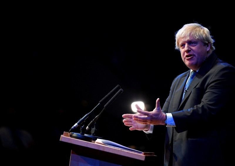 Boris Johnson addresses delegates at a Conservative Home fringe meeting on the third day of the Conservative Party Conference in Birmingham, October 2, 2018. (Reuters Photo)