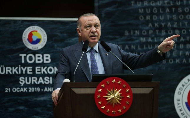 President Recep Tayyip Erdoğan speaks during the Union of Chambers and Commodity Exchanges of Turkey (TOBB) Economy Council Meeting in Ankara, Jan. 21, 2019.