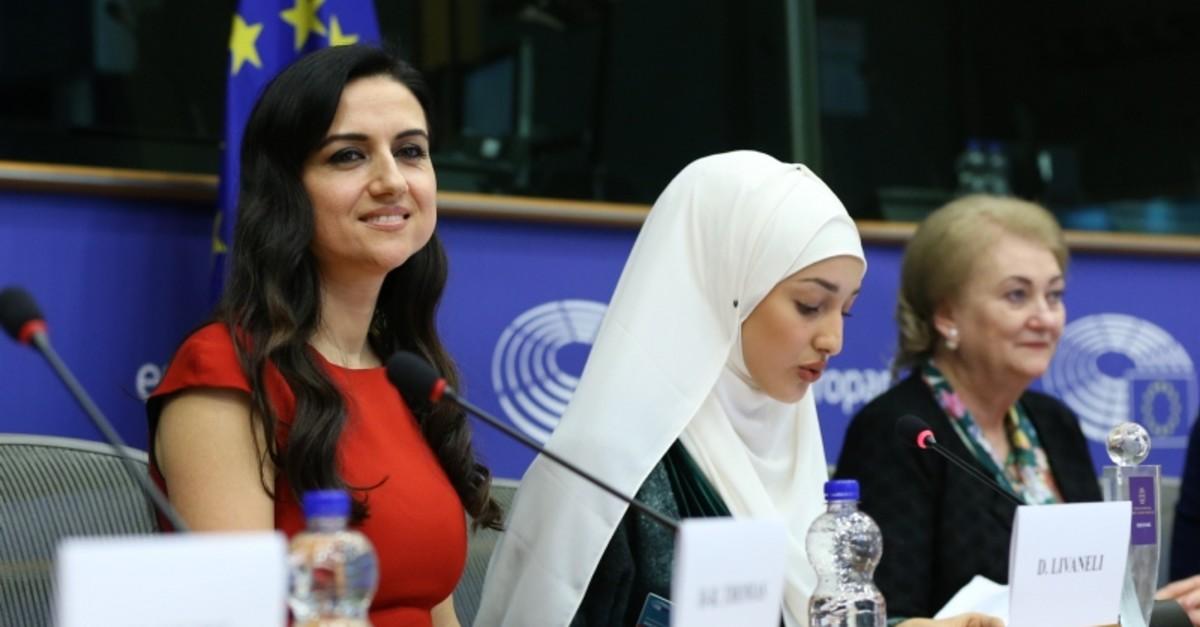 Dilek Livaneli receives women's leadership award from European Parliament on Thursday, March 7, 2019. (AA Photo)