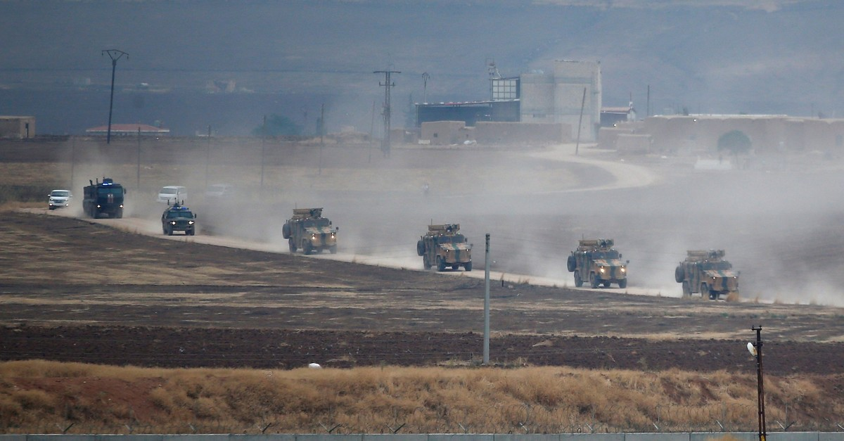 Turkish and Russian military vehicles return following a joint patrol in northeast Syria, as they are pictured near the Turkish border town of Ku0131zu0131ltepe in Mardin province, Turkey, Nov. 1, 2019. (Reuters File Photo)