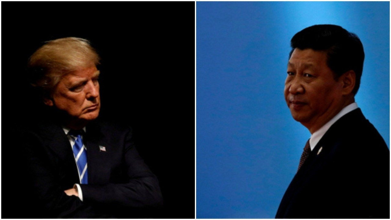 President Donald Trump (L) holds a rally with supporters in Council Bluffs, Iowa, September 28, 2016 and Chinese President Xi Jinping waits for leaders to arrive at a summit in Shanghai May 21, 2014. (REUTERS Photo)