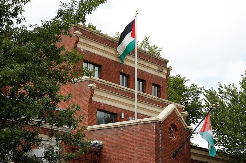 Flags fly over the Palestine Liberation Organization (PLO) office in Washington, D.C., U.S., Sept. 12, 2018. (Reuters Photo)