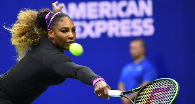 Serena Williams of the U.S. hits to Maria Sharapova of Russia in the first round on day one of the 2019 U.S. Open tennis tournament at the USTA Billie Jean King National Tennis Center in Flushing, NY, Aug. 26, 2019.