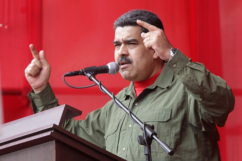 A handout photo made available by the Venezuelan News Agency (AVN) shows Venezuelan President Nicolas Maduro speaking during a ceremony of the Bolivarian National Armed Forces (FANB) in Caracas, Venezuela, Dec. 28, 2017. (EPA Photo)